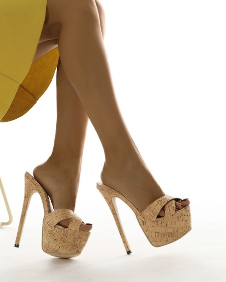 Round-toe Wood Pattern Open-toe Stiletto Heels