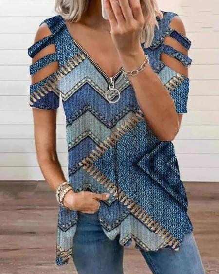 Colorblock Zip Front Cutout Sleeve T-shirt