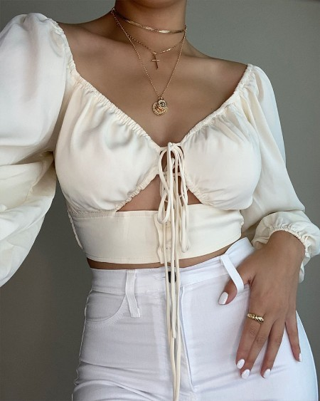 Solid Lace-up Front Cut-Out Crop Top