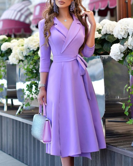 Long Sleeve Tied Detail Flared Dress
