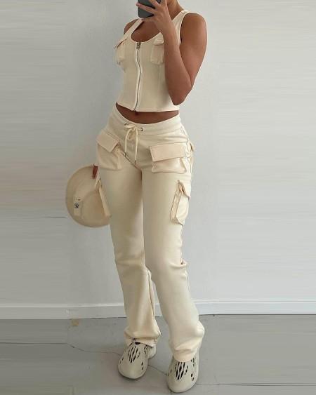 Zip Front Pockets Tank Top & Drawstring Cargo Pants Set
