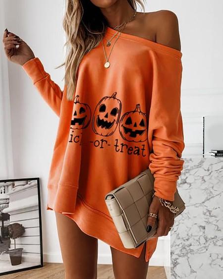 Halloween Letter Pumpkin Print Casual Sweatshirt