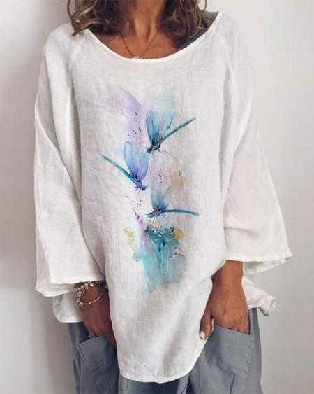 Tie Dye Dragonfly Print Long Sleeve Top