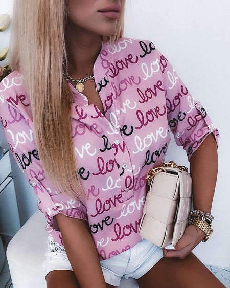 Letter Print Button Front Casual Shirt