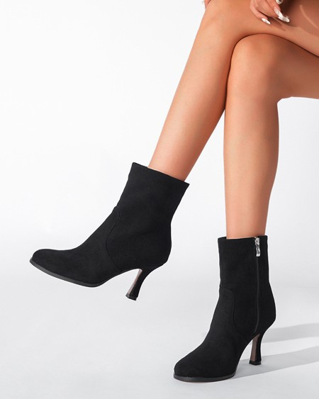 Chic Women Round Toe High Heel Boots With Side Zipper