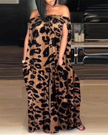 Cheetah Print Off Shoulder Wide Leg Jumpsuit