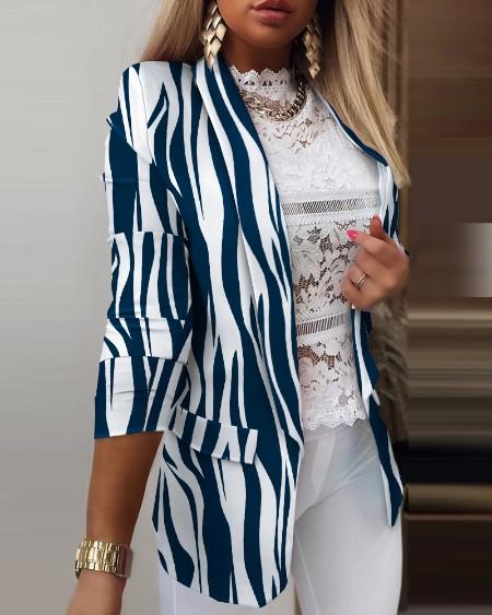 Zebra Stripe Shawl Collar Open Front Flap Detail Blazer