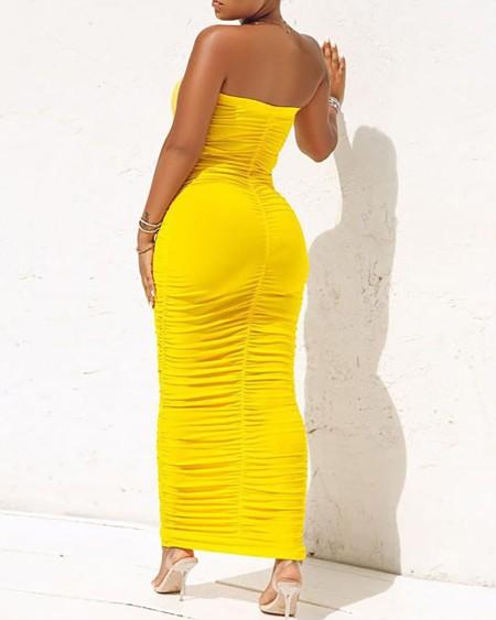 Bandeau Ruched Sleeveless Maxi Dress
