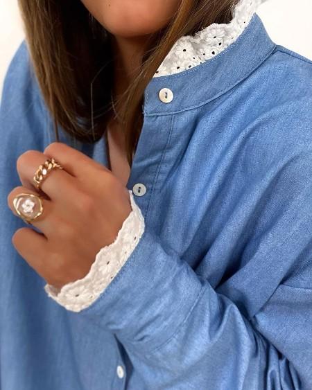 Lace Trim Long Sleeve Button Design Top