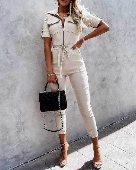 Zipper Front Pocket Plain Straight Jumpsuit