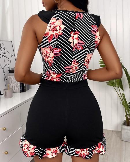 Striped Floral Print Colorblock Pocket Design Romper