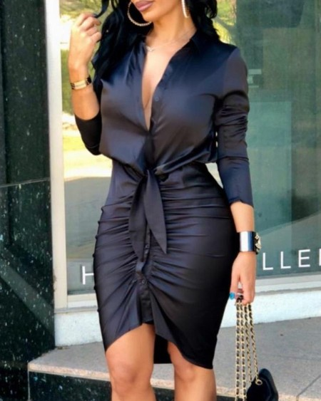 Lace-up Solid Color Long Sleeve Midi Dress