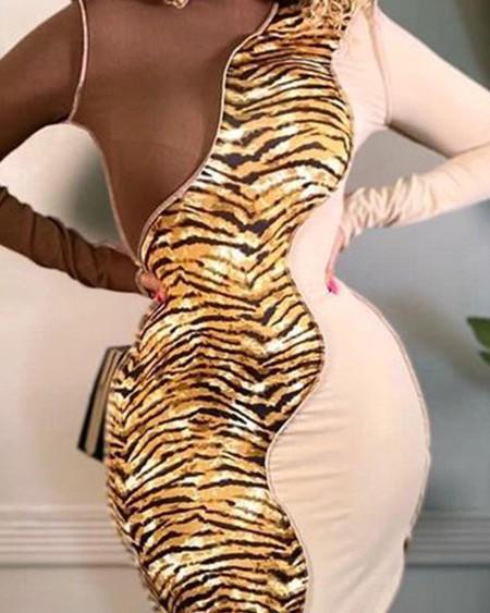 Colorblock Contrast Stitch Slit Bodycon Dress