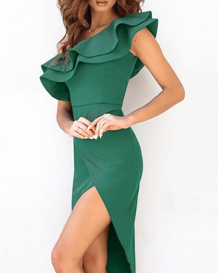 High Slit Ruffles One Shoulder Party Dress Sleeveless Slim Plain Elegant Cocktail Dress