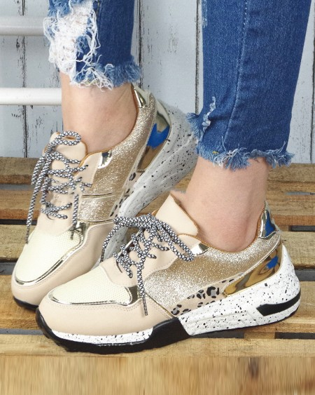 Patchwork Round-toe Lace-up Sneakers