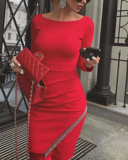 Chain Tassel Decor Long Sleeve Skinny Dress