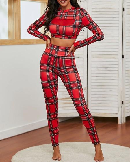 Conjunto de calças xadrez de Natal e calças de cintura alta