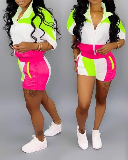 Colorblock Zipper Design Top & Pocket Design Shorts Set