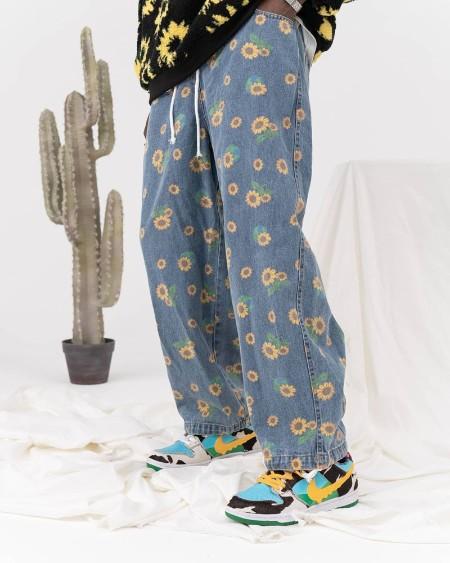 Sunflower Print Loose Straight Pants