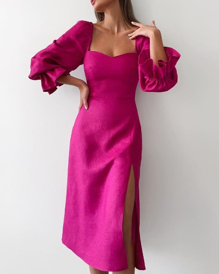 Solid Color Flared Sleeves Maxi Slit Dress