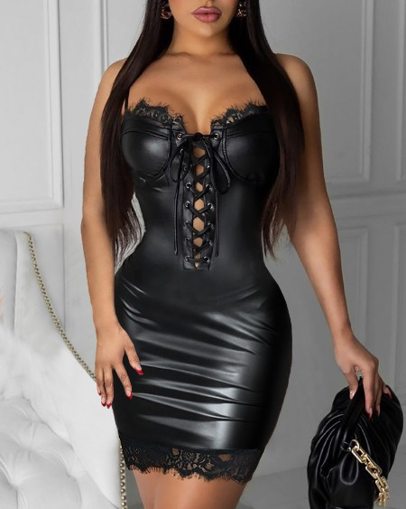 Eyelet Lace-up Lace Trim PU Leather Bodycon Dress