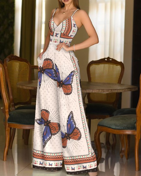 Cami Butterfly Print Wide Leg Casual Jumpsuit