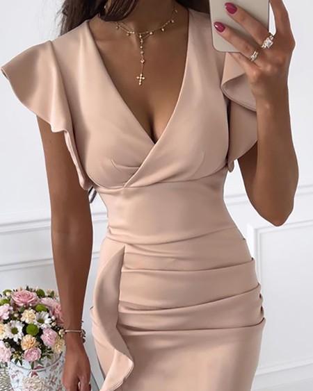 V-Neck Ruffle Hem Ruched Dress
