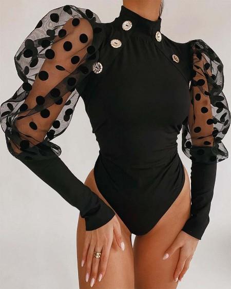 Polka Dot Contrast Mesh Puff Sleeve Button Decor Skinny Bodysuit