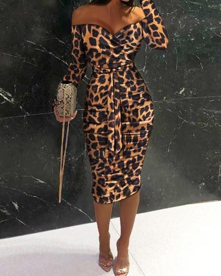 Off Shoulder Ruched Design Belted Bodycon Dress
