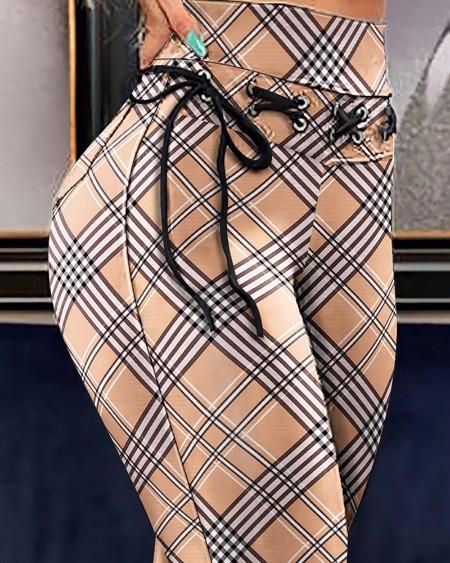 Plaid Print High Waist Eyelet Lace-up Pocket Design Skinny Pants