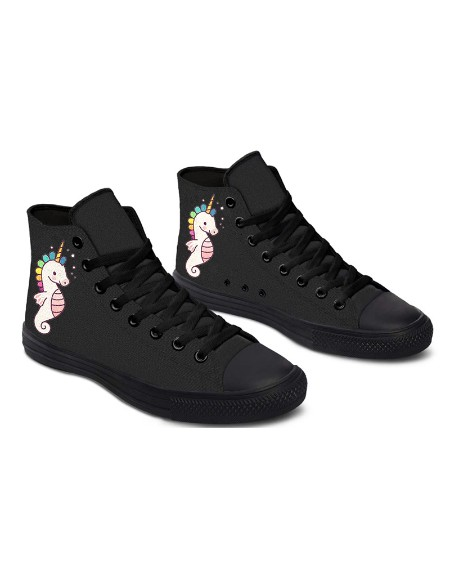 Womens Hippocampus Unicorn Print Lace-up High Top Canvas Casual Shoes