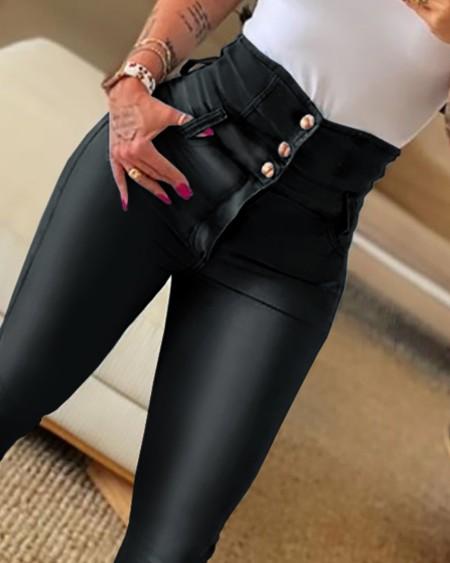 PU Leather High Waist Buttoned Skinny Pants