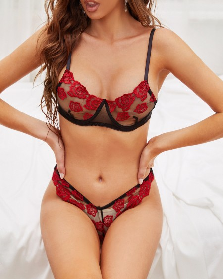 Sexy Mesh Splicing Rose Embroidery Sling Bra Sets