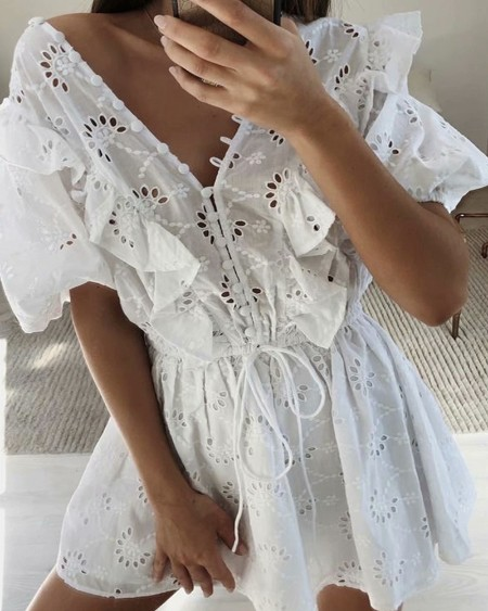 Eyelet Embroidery Frill Hem Button Front Drawstring Casual Dress
