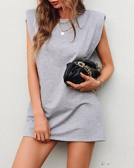Plain Sleeveless Mini Casual Dress