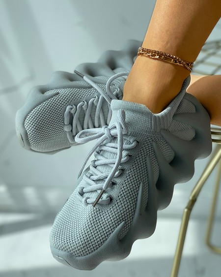 Knit Lace-up Front Casual Sneaker