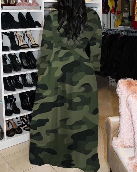 Camouflage Print Button Design Maxi Dress