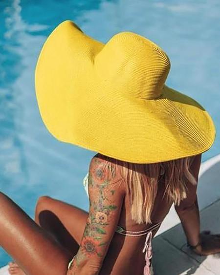 Plain Wide Brim Straw Bucket Hat