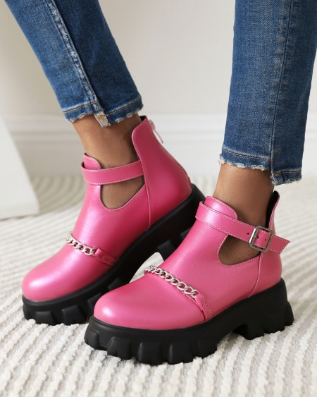 Womens Chain Decoration Round Toe Hollow-out Martin Boots