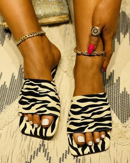 Zebra Stripe Print Square Toe Flat Sandals