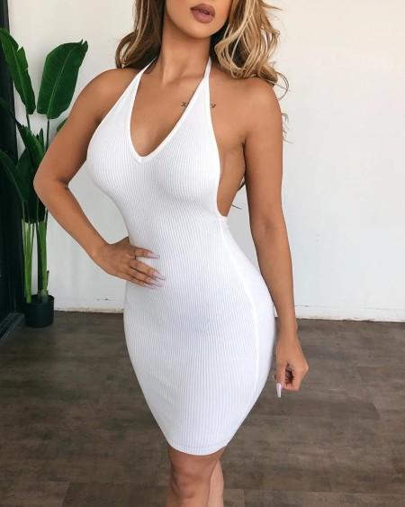 Plain Halter Open Back Bodycon Dress
