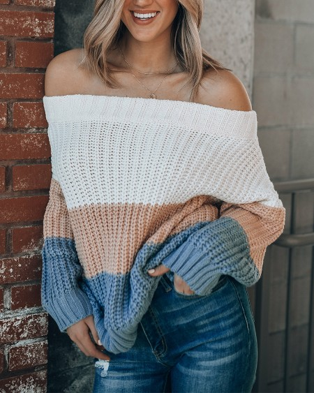 Colorblock Off Shoulder Chunky KnitSweater