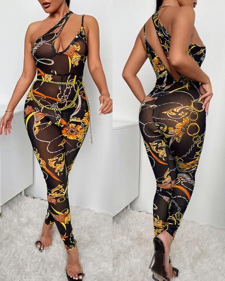 Scarf Chain Print One Shoulder Cutout Skinny Jumpsuit