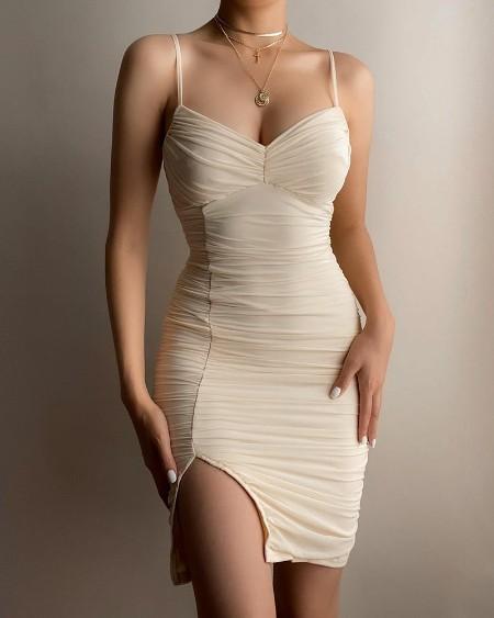 Split Hem Ruched Bodycon Cami Dress