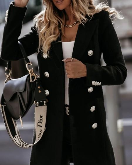 Button Design Long Sleeve Coat