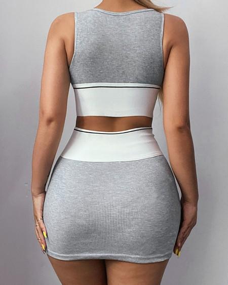 Letter Print Colorblock Crop Top & Skirt Sets