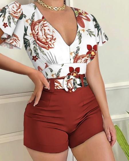 Short Sleeve Deep V Floral Print Top & Plain Shorts Set