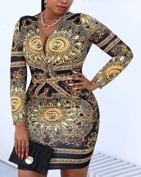 Plus Size Retro Print Twist Front Long Sleeve Dress