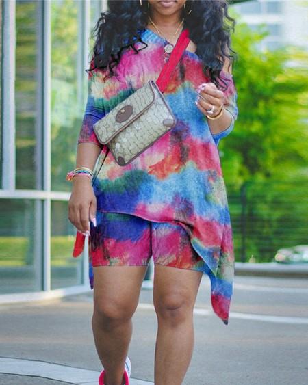 Tie Dye Asymmetrical Top & Shorts Set