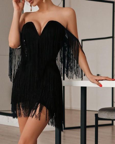 Off Shoulder Tassel Design V-Cut Party Dress
